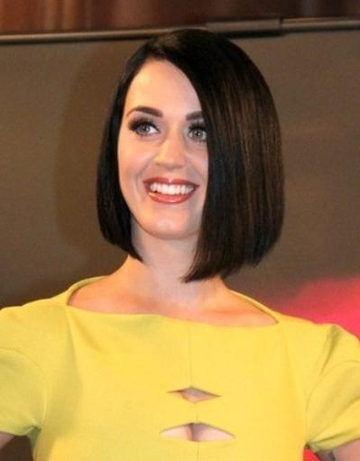 Trendy Katy Perry Bob Hairstyles Within Katy Perry Short Straight Bob Hairstyle – Popular Haircuts (View 4 of 15)