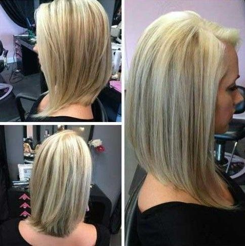 Trendy Long Bob Hairstyles Back View Inside Simple Long Angled Bob Hairstyles Side Part For Straight Blonde (View 10 of 15)