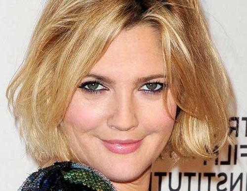 Well Known Drew Barrymore Shoulder Length Bob Hairstyles For Bob Cuts For Round Faces (View 15 of 15)