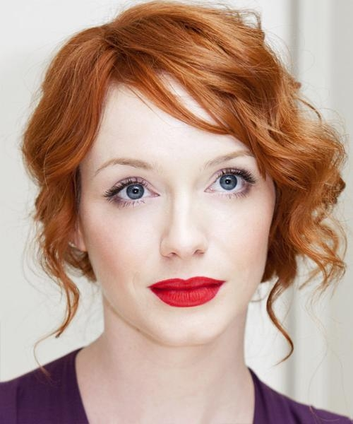 Widely Used Christina Hendricks Bob Hairstyles Within Christina Hendricks Curly Formal Updo Hairstyle – Light Red (View 15 of 15)