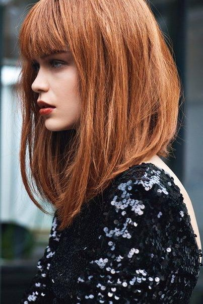 Widely Used Long Inverted Bob Haircuts With Bangs For Best 25+ Long Bob With Bangs Ideas On Pinterest (View 15 of 15)
