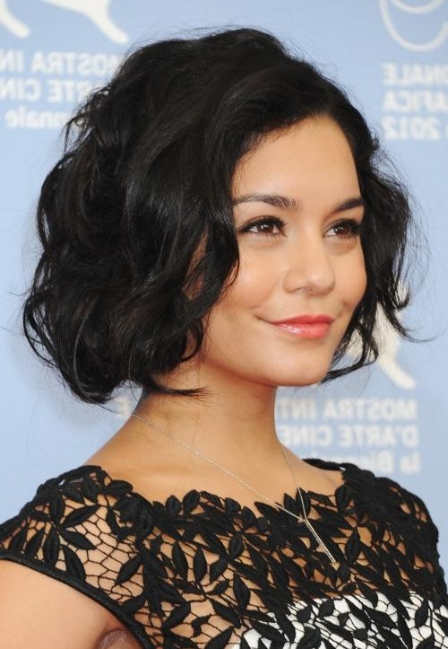 Widely Used Vanessa Hudgens Bob Hairstyles Throughout Vanessa Hudgens Latest Haircut: Short Black Wavy Bob Cut (View 15 of 15)