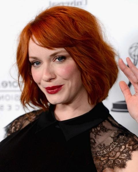 2014 Christina Hendricks' Short Hairstyles: Short Bouncy Bob For Intended For Red Hair Short Haircuts (View 3 of 20)