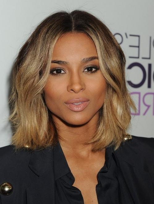 2014 Ciara Medium Hairstyles: Center Part Haircut – Pretty Designs Pertaining To Center Part Short Hairstyles (View 1 of 20)