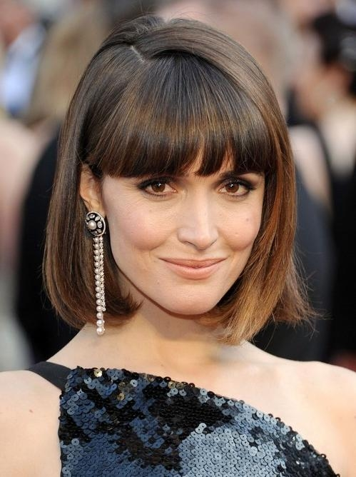 2014 Rose Byrne's Short Hairstyles: Blunt Bob Haircut With Blunt Within Short Haircuts With Full Bangs (View 4 of 20)