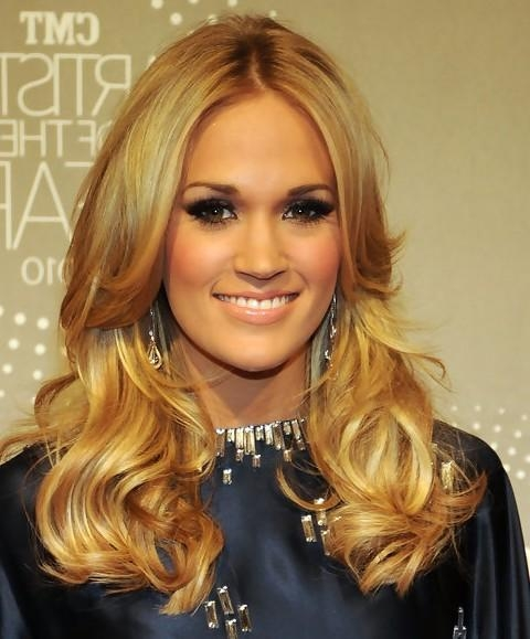 2017 Carrie Underwood Long Hairstyles For Carrie Underwood Long Hairstyle: Long Side Part – Pretty Designs (View 1 of 15)