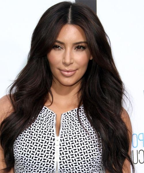 2017 Kim Kardashian Long Hairstyles Pertaining To Kim Kardashian Long Straight Casual Hairstyle – Dark Brunette (View 1 of 20)