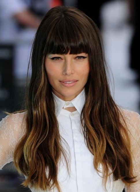 2018 Long Hairstyles With Straight Bangs Intended For 2014 Jessica Biel Hairstyles: Long Hairstyle With Blunt Bangs (View 3 of 20)