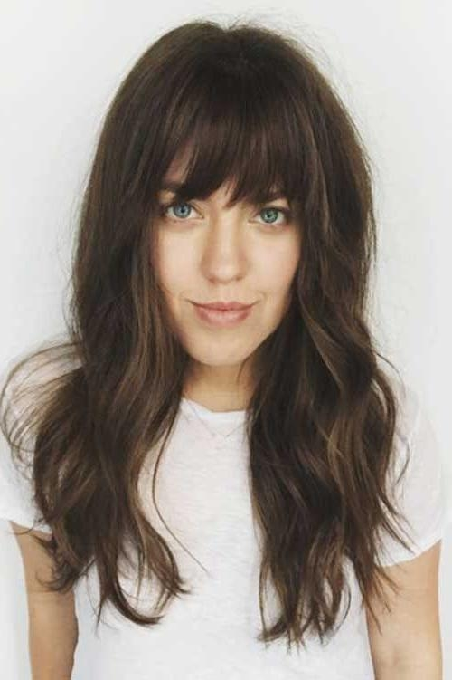 2018 Long Hairstyles With Straight Bangs With Regard To Best 25+ Bangs Long Hair Ideas On Pinterest | Fringe Bangs, Long (View 12 of 20)