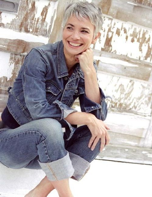 25+ Unique Short Gray Hair Ideas On Pinterest | Grey Pixie Hair Within Short Hairstyles For Grey Haired Woman (View 8 of 20)