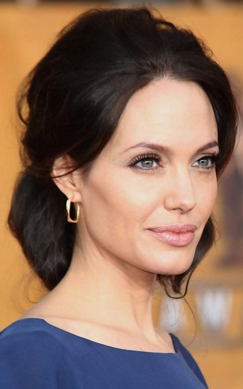 Angelina Jolie Long Hairstyle: Black Hair With Loose Bun – Pretty Inside Angelina Jolie Short Hairstyles (View 4 of 20)