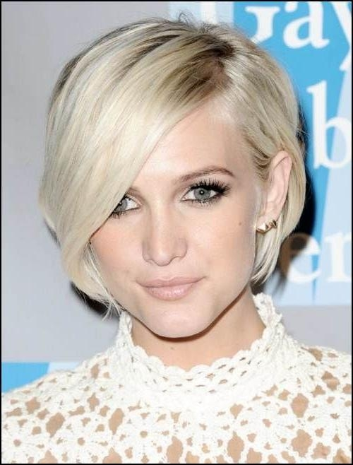 Ashlee Simpson Short Straight Casual Bob Hairstyle – Light Blonde Within Ashlee Simpson Short Hairstyles (View 11 of 20)