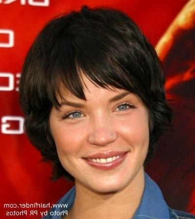 Ashley Scott Hairstyle | Short Halfway The Nape Hair That Covers Intended For Short Hairstyles Covering Ears (View 6 of 20)