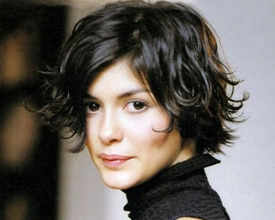 Audrey Tautou Brunette Hair Short Flipped Out Playful Hairstyle Inside Flipped Short Hairstyles (View 18 of 20)