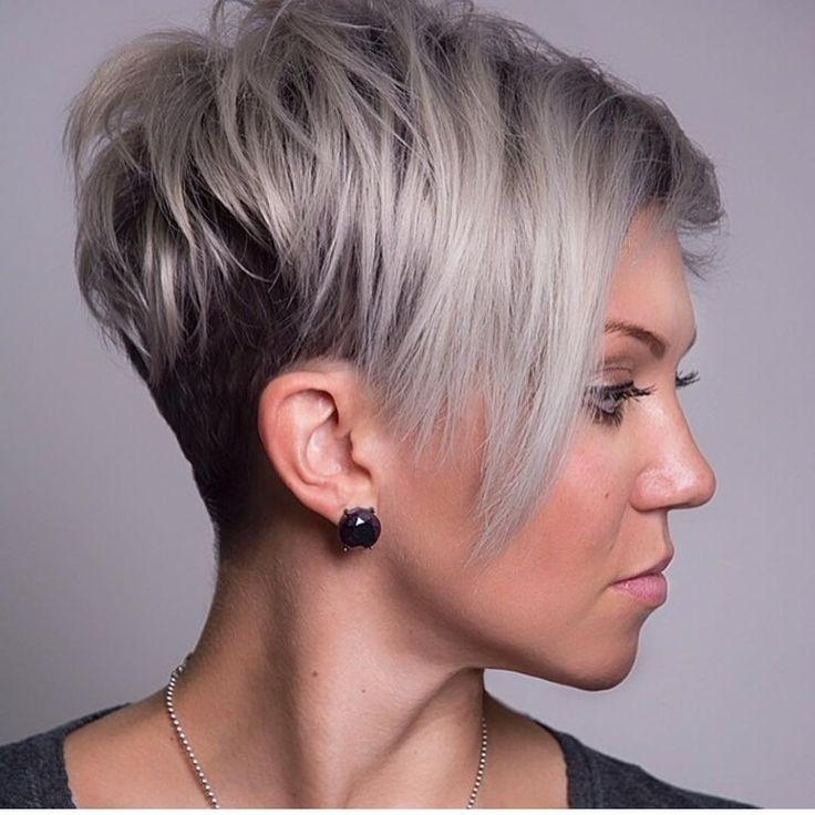 2018 Popular Funky Short Haircuts For Round Faces