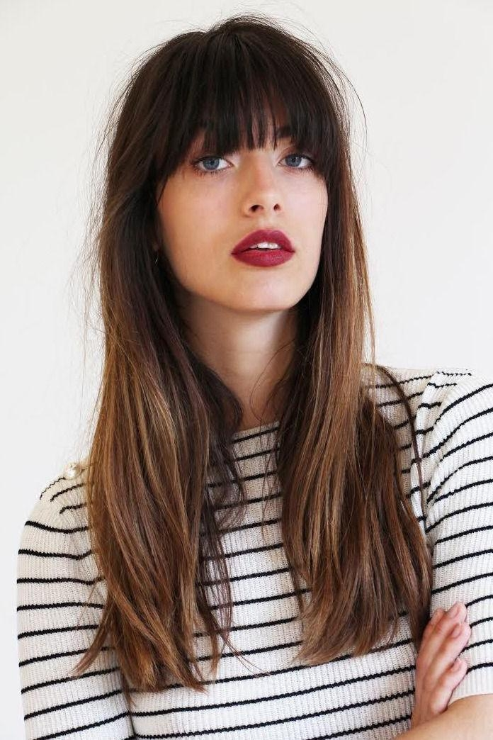 Best And Newest Bangs Long Hairstyles Intended For Best 25+ Blonde Hair Bangs Ideas On Pinterest | Blonde Hair Fringe (View 5 of 20)