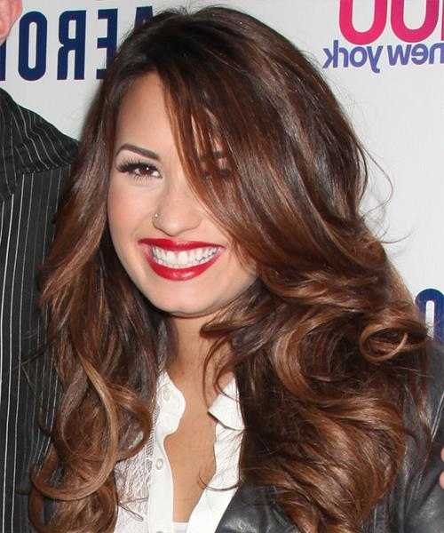 Best And Newest Demi Lovato Long Hairstyles With Demi Lovato Long Wavy Formal Hairstyle – Dark Brunette (Auburn (View 4 of 15)