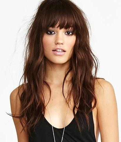 Best And Newest Long Haircuts With Fringes With Regard To Best 25+ Bangs Long Hair Ideas On Pinterest | Fringe Bangs, Long (View 11 of 15)
