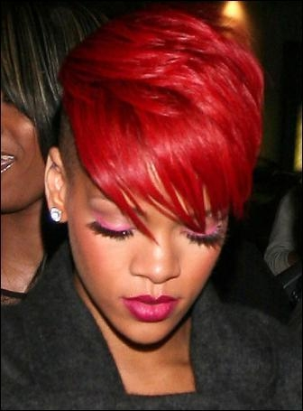 Best Pictures: Rihanna's Red Hair Color: Photos Of Short, Long Pertaining To Fire Red Short Hairstyles (View 10 of 20)
