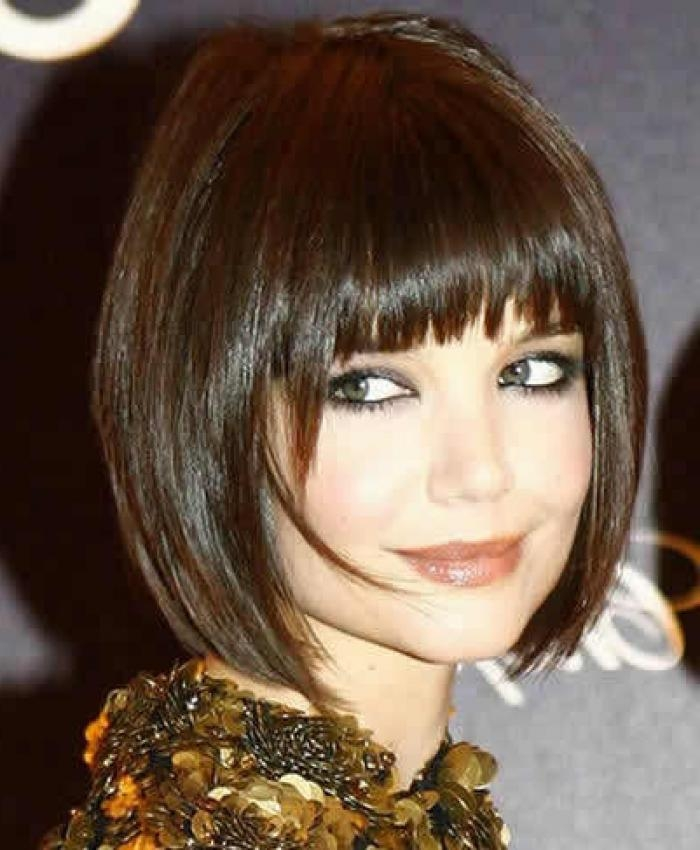 Black Bangs For Round Face With Bob And Short Haircut Within Short Haircuts With Bangs For Round Faces (View 17 of 20)