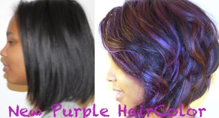Black Short Hairstyles With Purple Color Metamorphosis From Long Pertaining To Purple And Black Short Hairstyles (View 12 of 20)