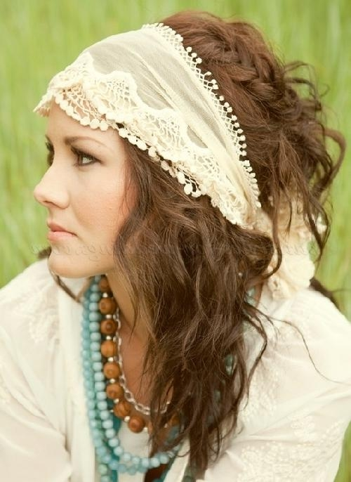 Bridal Headbands – Hippie Bridal Hairstyle With Headband Throughout Hippie Short Hairstyles (View 17 of 20)