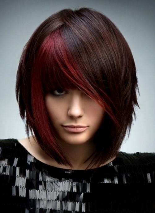 Brunette With Red Highlights – Short Straight Bob Haircut With Red Throughout Short Hairstyles With Red Highlights (View 9 of 20)