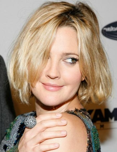 Celebrity Short Hairstyle Ideas: Layered Bob Cut For Thick Hair With Drew Barrymore Short Hairstyles (View 4 of 20)