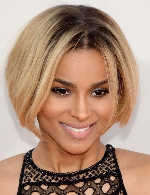 Ciara Short Hair Style: 2014 Bob With Center Part – Pretty Designs Regarding Center Part Short Hairstyles (View 10 of 20)