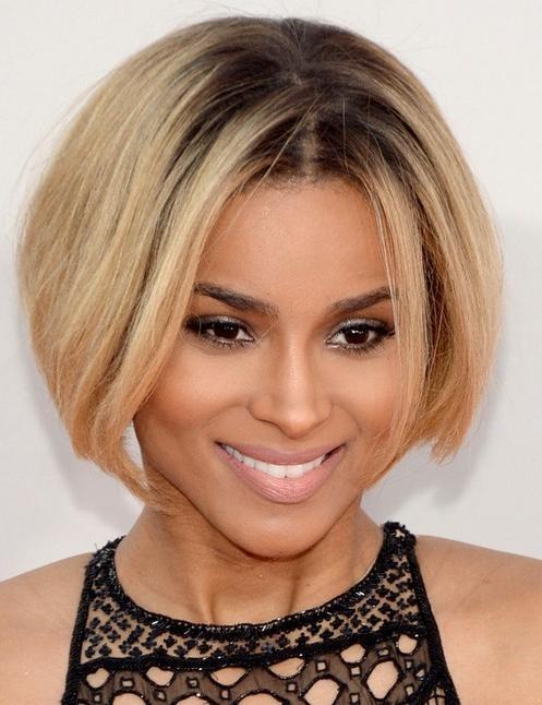 Ciara Short Hair Style: 2014 Bob With Center Part – Pretty Designs Regarding Center Part Short Hairstyles (View 5 of 20)