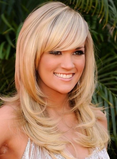 Current Carrie Underwood Long Hairstyles With Carrie Underwood Long Hairstyle: Layered Hair With Subtle Waves (View 7 of 15)