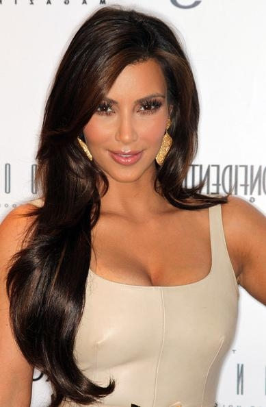 Current Kim Kardashian Long Haircuts Within Kim Kardashian Long Curls – Kim Kardashian Long Hairstyles Looks (View 3 of 15)