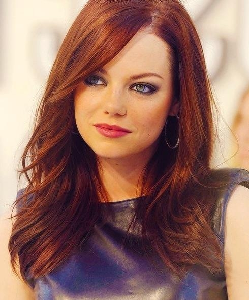 Current Long Hairstyles For Red Hair Regarding Emma Stone's Long Hairstyles: Red Straight Hair – Popular Haircuts (View 4 of 20)