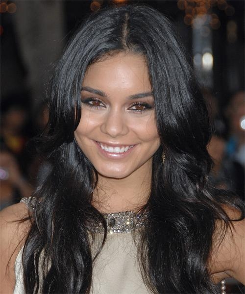 Current Vanessa Hudgens Long Hairstyles Within Vanessa Hudgens Long Wavy Casual Hairstyle – Black (Ash) Hair Color (View 6 of 20)