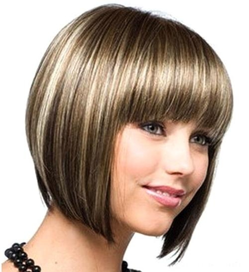 Cute Bob Haircuts For Round Faces] Cute Short Graduated Bob With Short Haircuts With Bangs For Round Faces (View 17 of 20)