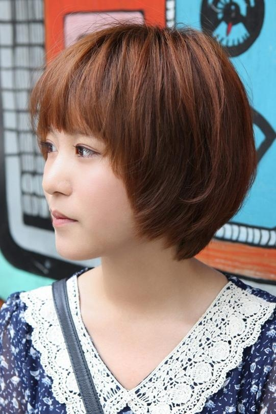 Cute Korean Short Haircut: Layered Bob With Feathered Ends Within Short Hairstyles With Feathered Sides (View 15 of 20)