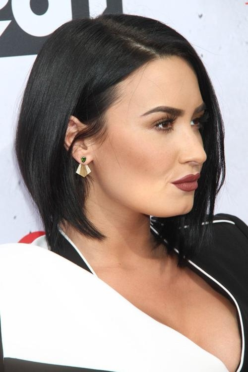 Demi Lovato Straight Black Angled Bob, Bob Hairstyle | Steal Her Style With Regard To Demi Lovato Short Hairstyles (Gallery 18 of 20)