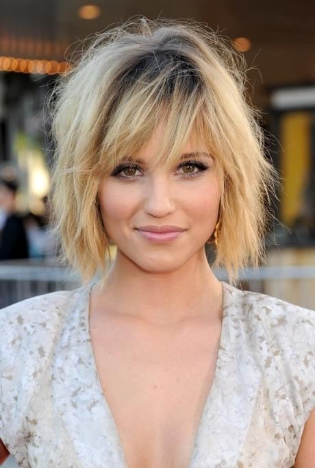 Dianna Agron Layered Short Ombre Bob Hairstyle With Bangs In Short Hairstyles With Bangs And Layers (View 13 of 20)