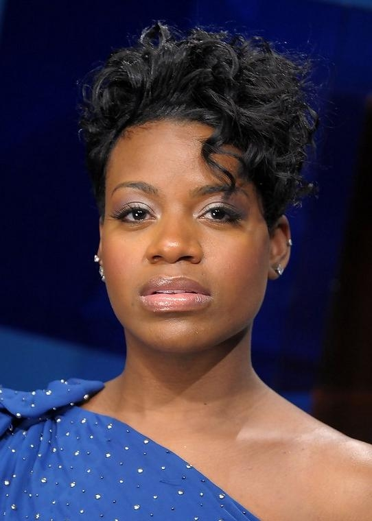 Fantasia Barrino Edgy Short Black Curly Hairstyle For Black Women Inside Edgy Short Haircuts For Black Women (View 15 of 20)