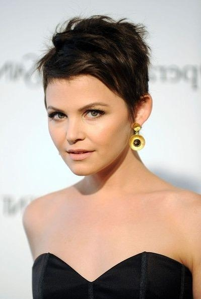Ginnifer Goodwin Short Haircut: Brunette Pixie Cut With Piecey Intended For Brunette Short Hairstyles (Gallery 20 of 20)