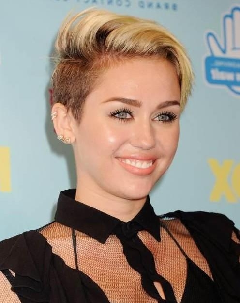 Hairstyles For 2014: Trendy Side Parted Short Haircut From Miley Inside Miley Cyrus Short Haircuts (View 2 of 20)