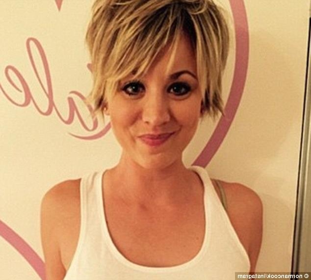 Kaley Cuoco Dyes Her Blonde Pixie Hair Pink In Latest Instagram With Regard To Short Hairstyles With Big Bangs (View 9 of 20)