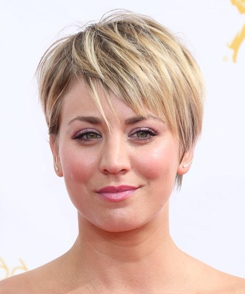 Kaley Cuoco Short Straight Casual Hairstyle – Medium Blonde Regarding Kaley Cuoco Short Hairstyles (Gallery 4 of 20)