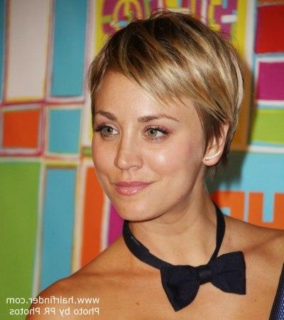 Kaley Cuoco With Her Hair Cut Short Into A Pixie In Kaley Cuoco Short Hairstyles (View 15 of 20)