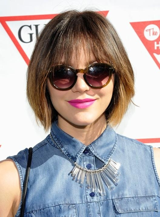 Katharine Mcphee Choppy Short Ombre Bob Cut With Wispy Bangs Regarding Short Hairstyles With Wispy Bangs (View 15 of 20)