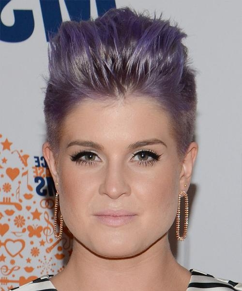 Kelly Osbourne Short Straight Alternative Emo Hairstyle – Purple With Kelly Osbourne Short Haircuts (View 13 of 20)