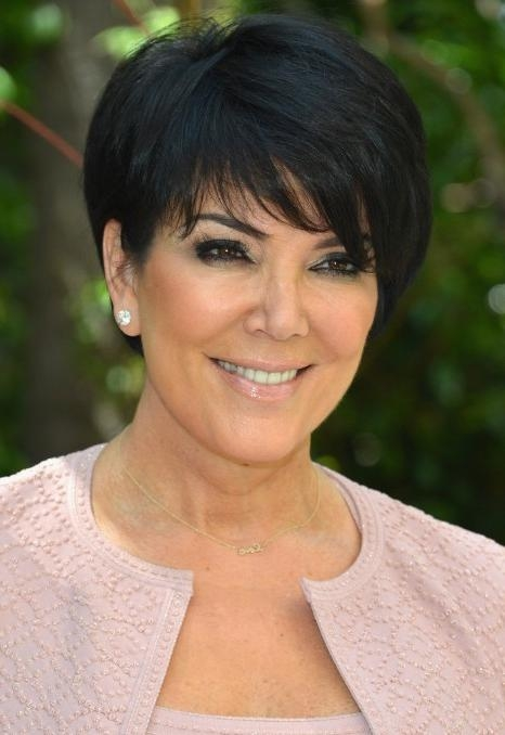Kris Jenner Short Black Haircut With Side Swept Bangs – Hairstyles With Regard To Kris Jenner Short Hairstyles (View 11 of 20)