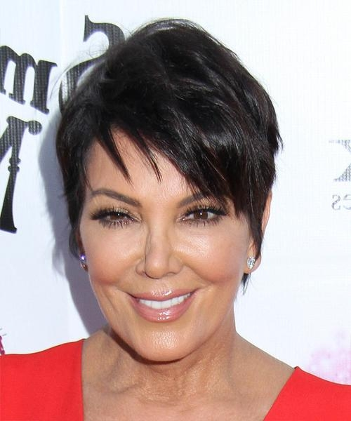 Kris Jenner Short Straight Casual Hairstyle – Dark Brunette Hair Color With Regard To Kris Jenner Short Hairstyles (View 17 of 20)