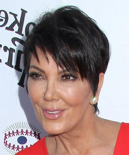 Kris Jenner Short Straight Casual Hairstyle – Dark Brunette Hair Color With Short Haircuts Kris Jenner (Gallery 16 of 20)