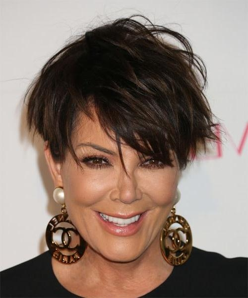 Kris Jenner Short Straight Casual Hairstyle With Side Swept Bangs Intended For Kris Jenner Short Hairstyles (View 18 of 20)